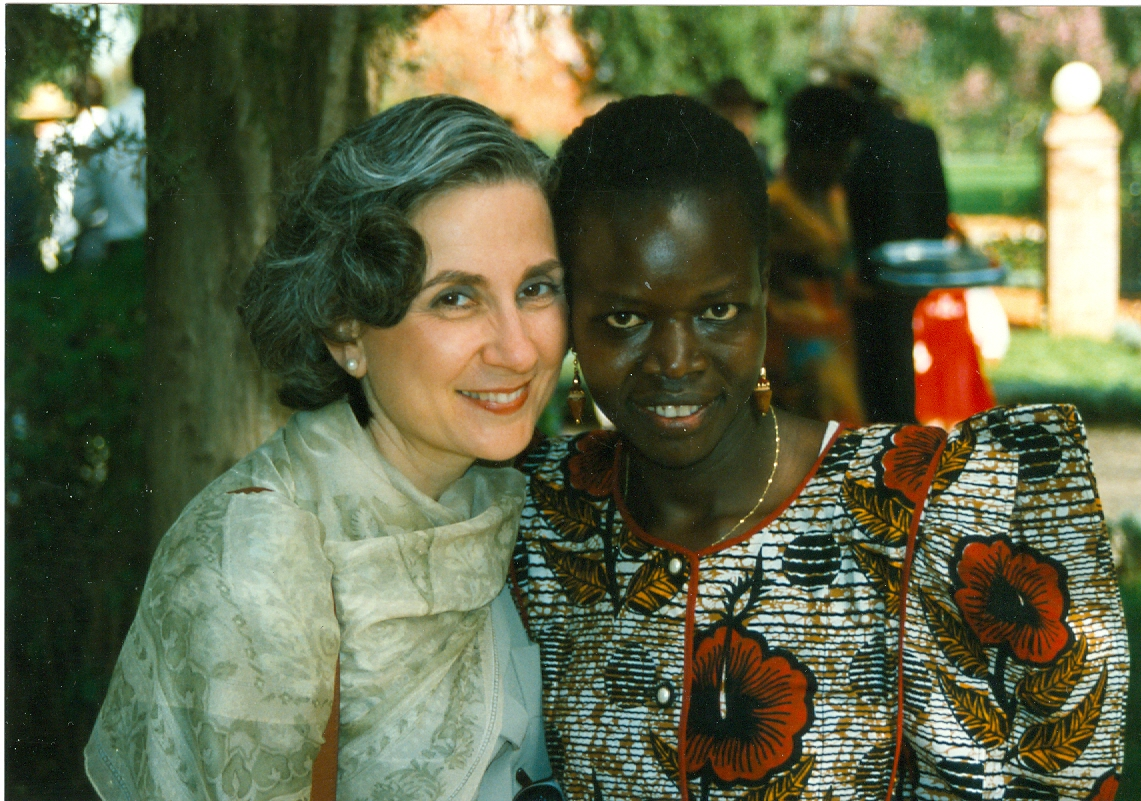 Photo of the author's mother with one of her former students.