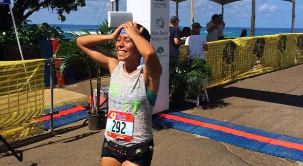 Christina Torres completes the Kauai Marathon in Kauai, Hawaii.